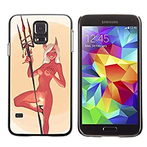 Paccase / SLIM PC / Aliminium Casa Carcasa Funda Case Cover - Devil Angel Woman Horns Nude Fire Sexy - Samsung Galaxy S5 SM-G900