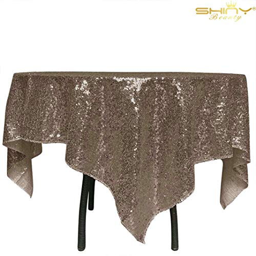 ShiDianYi Square Sequin Tablecloth Chocolate 54x54-Inch Beautiful Table Cover Glitz Table Linens Wedding Table Cloths Cake Stand Elegant Events ~190520S