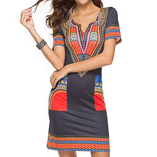 Mesdames robe d't hibote dcontract court v-cou robes africaines sexy mini robe de plage des femmes Rouge