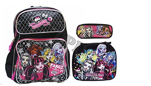 Monster High Large 16'' Backpack with Insulated Lunch Box Bag- 3 by AI
