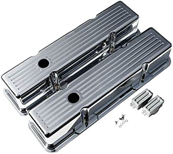 Ball Milled 1958-86 Compatible//Replacement for Chevy Small Block 283-305-327-350-400 Short Polished Aluminum Valve Covers