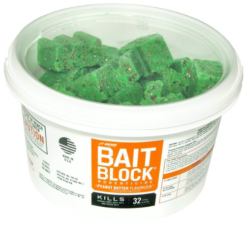 JT Eaton 704-PN Bait Block Rodenticide Anticoagulant Bait, Peanut Butter Flavor, For Mice and Rats (Pail of 32)
