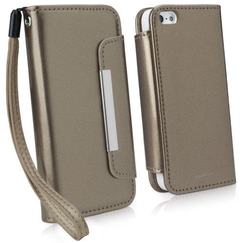 BoxWave Étui Apple iPhone 5s d'embrayage en cuir–en cuir vegan avec compartiments pour cartes et doublure intérieure élégante Apple iPhone 5s–Apple iPhone 5s Housses & étuis (Bronze)