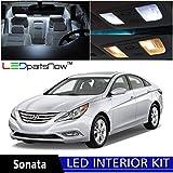 Hyundai Sonata w/SUNROOF 2011 & up Xenon White Premium LED Interior Lights Package kit (9 Pieces) + Install Tool