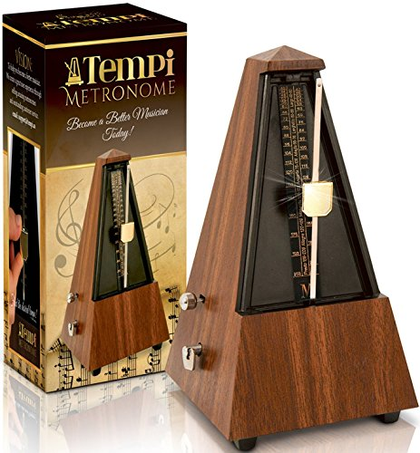 Tempi Metronome for Musicians (Plastic Mahogany Grain Veneer) with 2 Year Warranty, E-Book, 2 Months Free Music Lessons from Tempi
