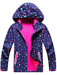 Girls Hooded Outdoor Softshell Stars Pattern Windproof Active Jackets with Composite Mesh