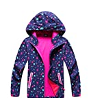 M2C Girls Stars Pattern Windproof Hooded Jackets with Composite Mesh 6/7 Purple