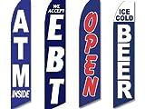 4 Swooper Flags Store Bodega Corner Convenience ATM Inside EBT Beer Open Blue