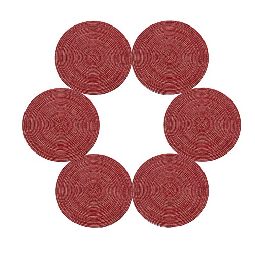 (Topotdor 14 Inch Round Placemats Heat-Resistant Stain Resistant Anti-Skid Washable Polyproplene Table Mats Placemats (set of 6,)
