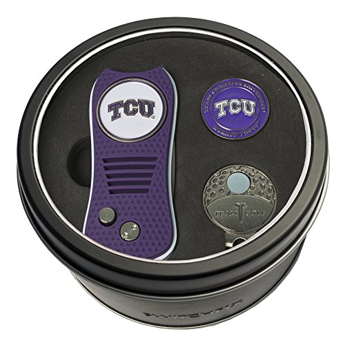 Team Golf NCAA TCU Horned Frogs Gift Set Switchblade Divot Tool, Cap Clip, & 2 Double-Sided Enamel Ball Markers, Patented Design, Less Damage to Greens, Switchblade Mechanism