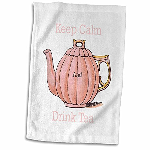 3dRose Florene Keep Calm Fun Sayings - Image of Keep Calm And Drink Tea With Vintage Teapot - 12x18 Hand Towel (twl_238658_1)