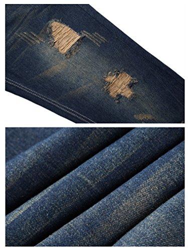 FEESON Men's Straight Leg Slimming Fit Distressed Loose Denim Jeans Dark Blue W30 by FEESON (Image #5)