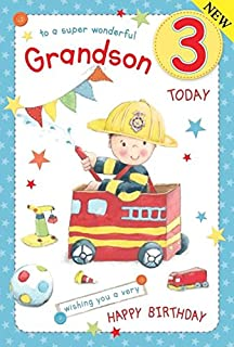 Fireman Grandson Age 3 Large Luxury 3rd Birthday Card