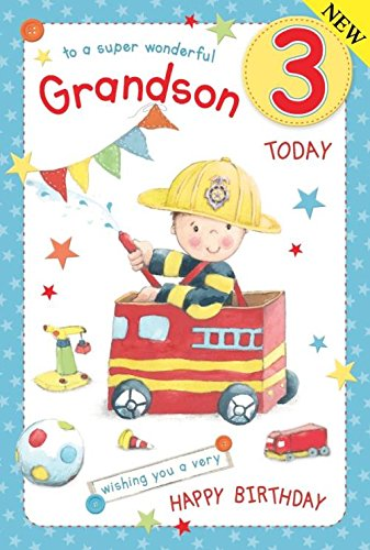 Fireman Grandson Age 3 Large Luxury 3rd Birthday Card Amazoncouk Kitchen Home