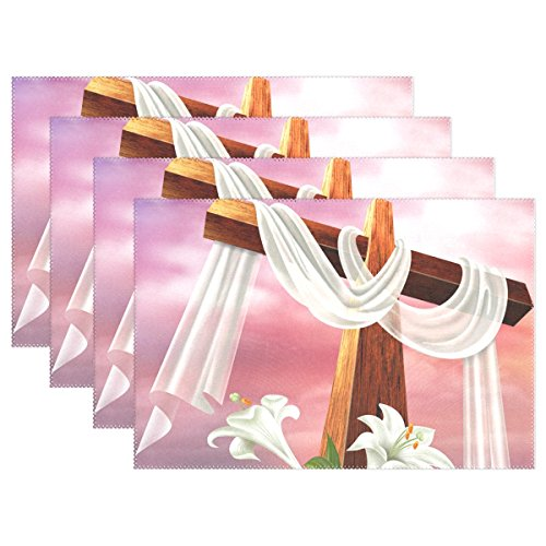 WellLee Easter Resurrection Cross Lily Placemat Set of 4 Polyester Plate Holder Table Mats for Kitchen Dining Room,12x18 Inch