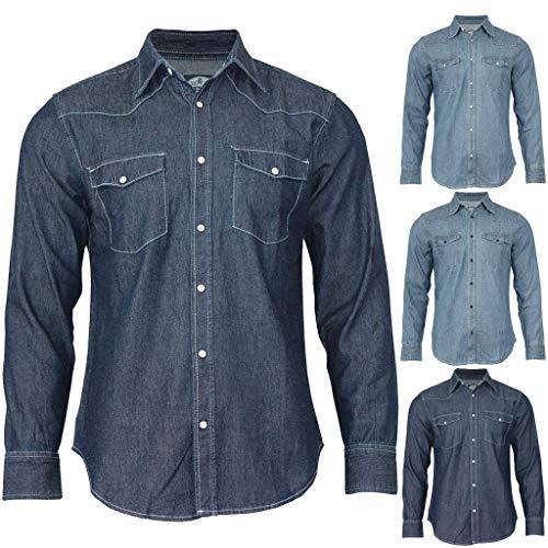 VEZAD Coat Mens Denim Sweatshirt Pockets Pullover Blouse Long Sleeve Tops