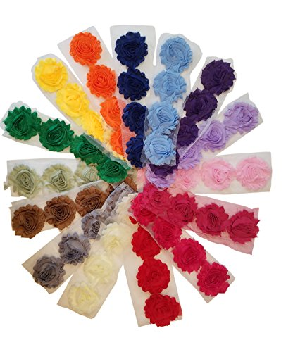 Chiffon Fabric Flowers for Crafts - 60 Shabby Chic Frayed Trim Tulle Roses for Headbands, Weddings, and other DIY Crafts - 15 Colors, 4 of each Color