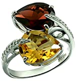 Sterling Silver 925 Ring GENUINE GEMSTONE 9.75 Cts with RHODIUM-PLATED Finish, By-Pass Design (7, garnet)