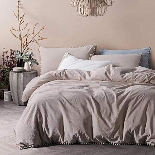 TanNicoor Pom Fringe Duvet Cover Set - 3 Piece Natural Ultra SOFE Color Washed Cotton Bedding Set, Modern Style Down Comforter Quilt Cover with Zipper Closure(King, Khaki) (Ruffle Tan Comforter)