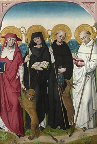 Oil Painting 'Saints Jerome, Bernard , Giles And Benedict 1485-90, Workshop Of The Maste' 12 x 18 inch / 30 x 45 cm , on High Definition HD canvas prints, gifts for Bar, Gym And Home Office Decoration