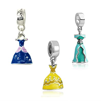 e918e4969 Silver set of 3 Cinderella, Belle And Jasmine Dress Charms, will fit Pandora,  Biagi, Chamilia and Troll Bracelets BMP: Amazon.co.uk: Jewellery