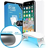 iPhone 8 Screen Protector Tempered Glass Shield, [Liquid Dispersion Tech] 2.5D Curved Full Coverage Dome Glass, Easy Install Kit and UV Light by Whitestone for Apple iPhone 8 (2017) / iPhone 7 (2016)
