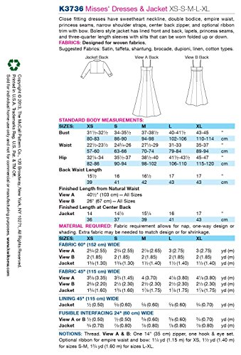 Kwik Sew K3736 Dresses and Jacket Sewing Pattern, Size XS-S-M-L-XL (Dress Princess Sew)