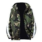 kaifongfu Mens Camouflage Zip Sport Long Sleeve Jacket Coat(Green,M)