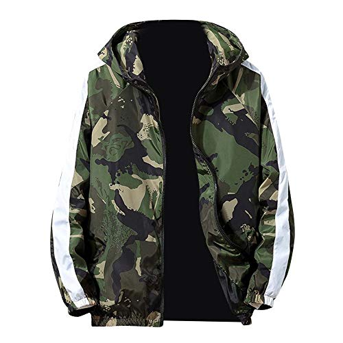 (iYYVV Mens Full Zip Camouflage Long Sleeve Pocket Sport Hooded Camo Field Jacket)