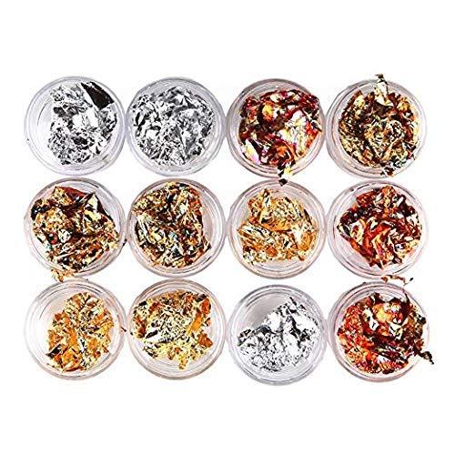 12 Boxes Gold Silver Copper Rainbow Foil Paillette Chip Foil Nail Glitter Nail Art Design Decoration