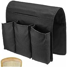 Sixsop Sofa Couch Chair Armrest Caddy Pocket Organizer, Remote Control Pocket, Arm Chair Caddy Remote Control Holder Organizer, Black