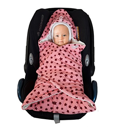 SWADDYL Baby girl swaddle blanket I car seat I stroller I hooded I newborn I Minky plush and 100% cotton I Made in Europe (RoseCreme) (Seat Blanket Car)