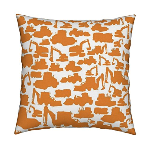 Truck Eco Excavator - Roostery Trucks Eco Canvas Throw Pillow Boys Toys Orange White by Smuk Cover and Insert Included