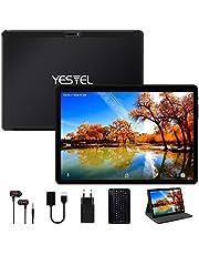 Yestel Tablet 10,1 inch Android 10.0 met 4 GB RAM 64 GB ROM-128G uitbreiding met Quad Core WI-FI Tablet Touchscreen | Dual SIM | 8000 mAh | HD camera 5 MP + 8 MP (tas/hoes/type C) - zwart