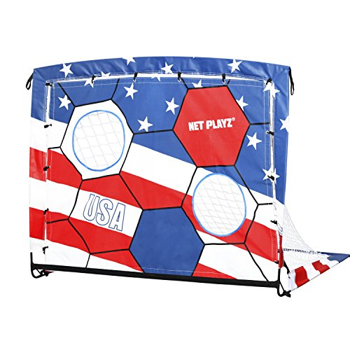 Net Playz 4ftx3ft 2 In 1 Portable Easy Fold-Up Training Soccer Goal with US Flag Target Panel/Carry Bag by Net Playz 4ftx3ft 2 In 1 Portable Easy Fold-Up Training Soccer Goal with US Flag Target Panel/Carry