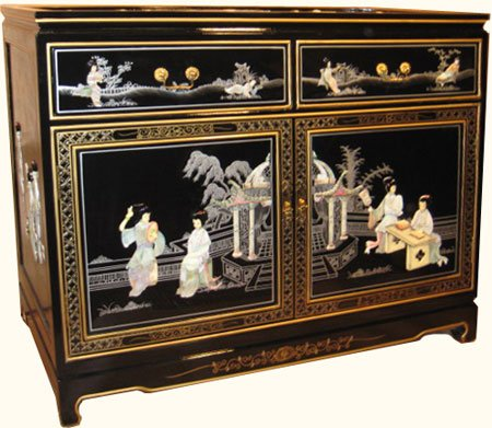 Oriental Cabinet, inlaid Mother of Pearl with glass top, felt lined drawers and shelf . Shiny black Chinese lacquer with glass top - 40