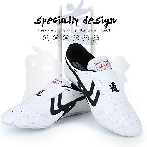 Taekwondo Shoes Martial Arts Sneaker Boxing Karate Kung Fu Tai Chi Shoes Black Stripes Sneakers Lightweight Shoes for Men Women (43)