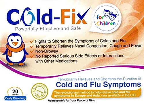 Cold-Fix for Children - Temporarily relieves and Shortens The Duration of Cold and Flu Symptoms by Supporting The Body's Natural Immune System - 20 Count Tablets