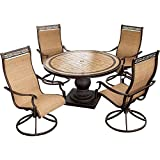 Hanover MONACO5PCSW Monaco 5-Piece High-Back Sling Swivel Rocker Outdoor Dining Set