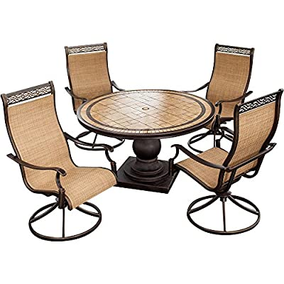 Hanover MONACO5PCSW Monaco 5-Piece High-Back Sling Swivel Rocker Dining Set Outdoor Furniture, Size 1, Porcelain/Metallic - Item may ship in more than one box and may arrive separately Outdoor dining set includes four high-back sling swivel-rockers with 360-degree spin performance and a 51-inch round dining table with a pedestal base Blended extruded-aluminum and decorative-cast components with hand-applied multiple-coat finish remains rust-free for the lifetime of the furniture - patio-furniture, dining-sets-patio-funiture, patio - 518aa yIFxL. SS400  -