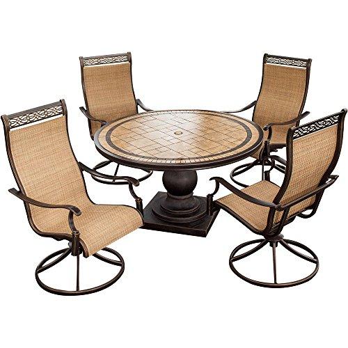 sunroom furniture set. Hanover MONACO5PCSW Monaco 5-Piece High-Back Sling Swivel Rocker Outdoor Dining Set Sunroom Furniture