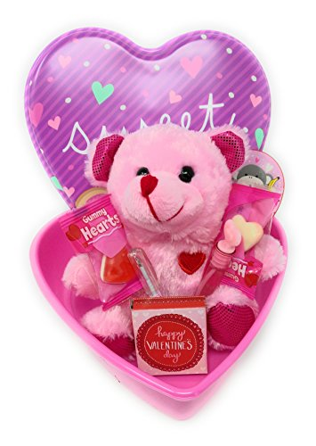 Happy Valentine's Day Kids Candy Basket Decor Decoration LOVE Hearts Teddy Bear Gift Set PURPLE