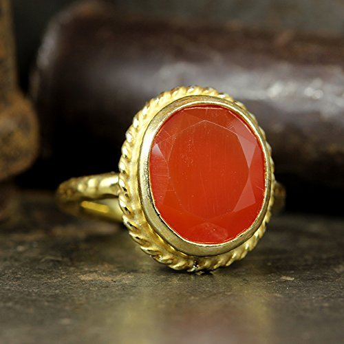 Carnelian Museum - Natural Agate Ring 24K Yellow Gold Vermeil 925 Solid Sterling Silver Handcrafted Artisan Hammered Ancient Roman Art Carnelian Gemstone Ring