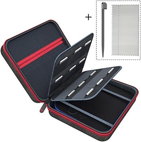 کیف حمل و نقل 6amL سازگار برای کیسه های جلد Nintendo 2DS با 18 کارت بازی و دارندگان ذخیره سازی Stylus ، سیاه