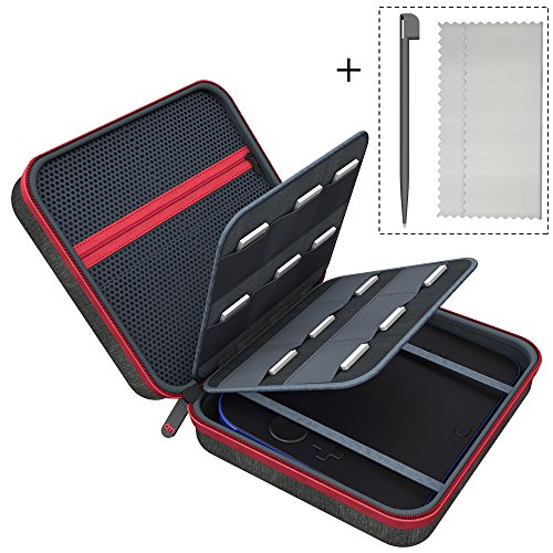 2DS Carrying Case for Nintendo, 6amLifestyle Nintendo 2DS Cover Bags with 18 Game Card & Stylus Storage Holders, Black