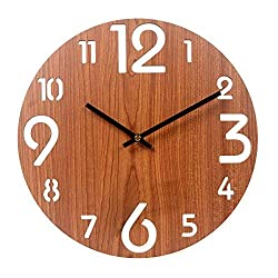 Vitaa 12 Inch Retro Wooden Wall Clock,Silent Non Ticking Decorative Wall Clock,Vintage Rustic Country Tuscan Style Round Wall Clock,Quartz Battery Operated (413)