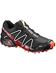 Salomon L38315400 Mens Spikecross 3 CS Trail Running Shoes in Black/Radiant Red/White, Lightweight & Comfortable...