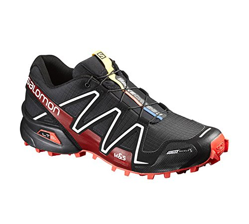 Salomon L38315400 Men's Spikecross 3 CS Trail Running Shoes in Black/Radiant Red/White, Lightweight & Comfortable with Non-Marking Solid Sole Black/Radiant Red/White
