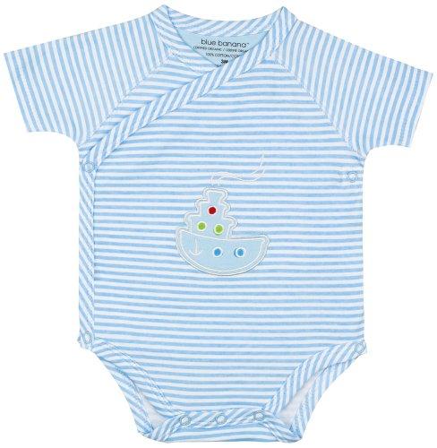 Kushies Unisex-Baby Newborn Organic Short Sleeve Bodysuit, Blue, 6 Months