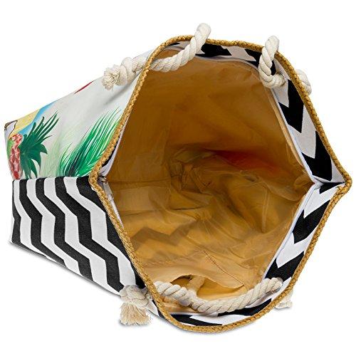 Mano con Estampado Negro Bolso TS1056 CASPAR de Colorido Mujer Playa Shopper XL Bolso para de qAfTFZ